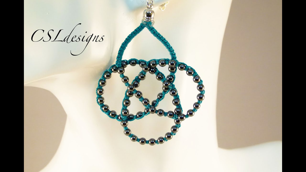 Beaded celtic knot micro macrame necklace/earrings - YouTube