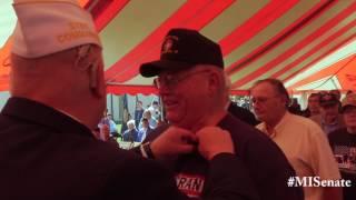 Sen. Horn participates in Frankenmuth Vietnam veteran lapel pinning