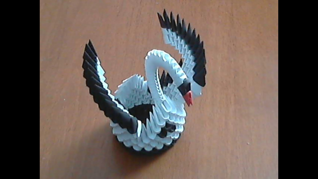 How to make 3d origami black and white small swan model1 ... - photo#32