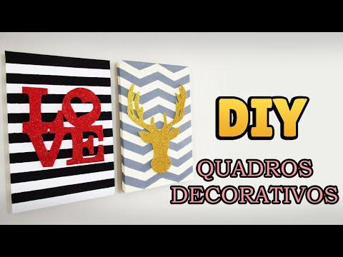 DIY: QUADROS DECORATIVOS Listrado e Chevron (Decoração Estilo Pinterest, Tumblr...)
