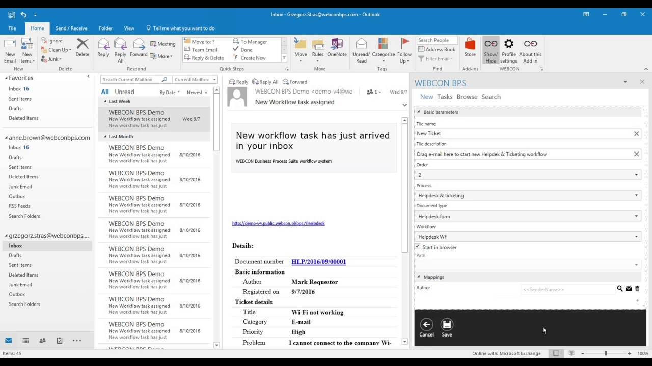 Helpdesk Ticketing Starting Workflows With Outlook Add In