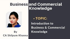 Introduction to Business & Commercial Knowledge   CA Foundation by CA Shilpum Khanna