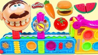 Feeding Mr. Play Doh Head Toy Velcro Food Made From Magic Mega Fun Factory!