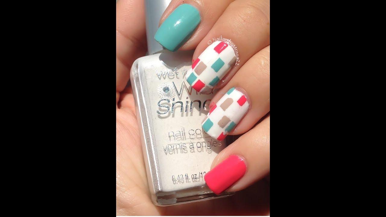 Facil diseño de uñas con cuadros de colores - YouTube