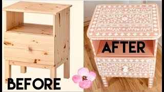 Diy:  Ikea Tarva Makeover. Indian Inlay Bed Table. Transformed With Stencil. Feng Shui Principles.