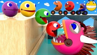 Pacman Colors Learning for Kids Children Toddlers Baby Monster Packman Wheels Colours Video 3D