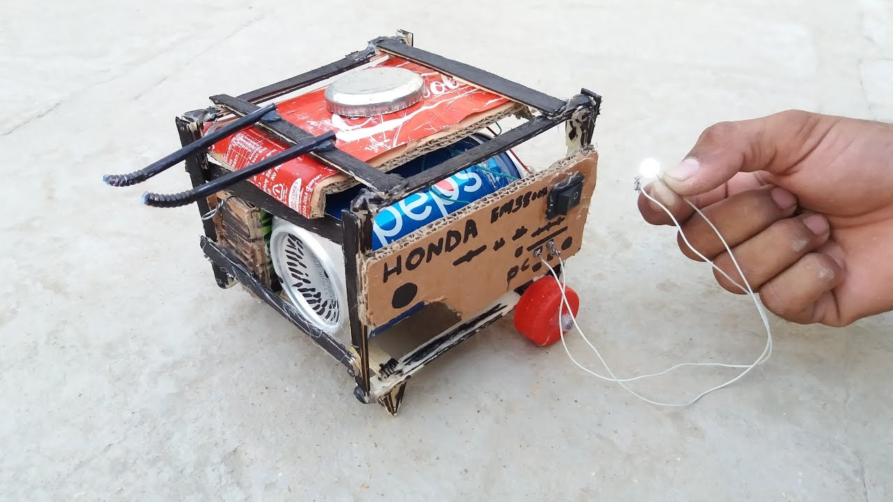 Wow How To Make A Generator At Home With Cardboard Pepsi Tin