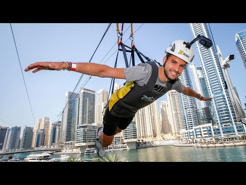 Grigor Dimitrov Flies High Over The City On XLine Dubai Marina