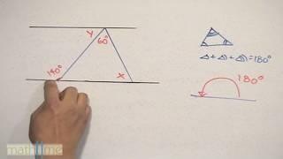 Ángulos entre paralelas y un triángulo