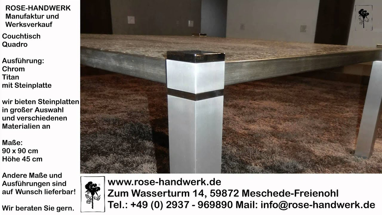 couchtisch quadro metall chrom titan mit steinplatte youtube. Black Bedroom Furniture Sets. Home Design Ideas