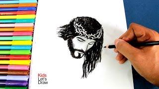 Cómo dibujar el rostro de Jesús crucificado (fácil) | How to draw the face of Jesus crucified easy!