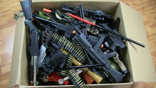 Giant Box of Toys Guns  Realistic Toy Rifles Military Guns Toys \u0026 Equipment