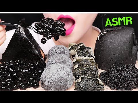 ASMR BLACK FOOD *TAPIOCA PEARLS, FLYING FISH ROE, ICE CREAM 타피오카 펄, 날치알, 아이스크림, 앙버터 먹방 EATING SOUNDS