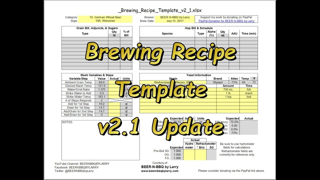 Brewing Recipe Template v2 1 Update
