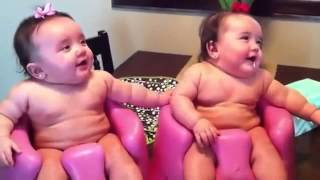 [Funny Baby Video] Twin babies laughing, crying, and then laughing again