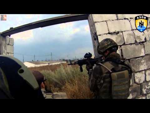 War In Ukraine Battle of Ilovaisk  Azov Battalion fighters  Helmet Cam