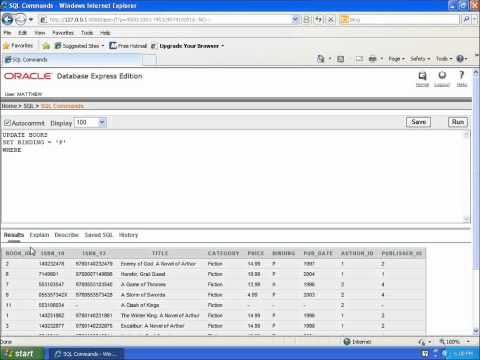 SQL With Oracle 10g XE - Using UPDATE To Change Data In A Table