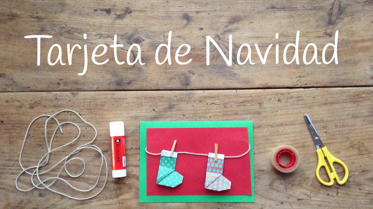Tarjetas de navidad originales con botas de origami f cil - Tarjetas de navidad de ninos ...