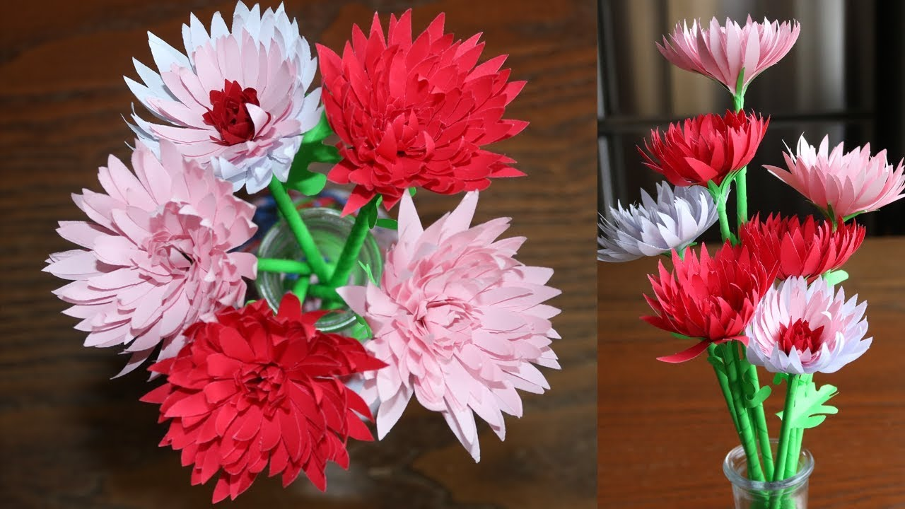 easy way to make paper flower chrysanthemum diy paper craft