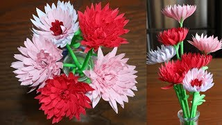 Easy way  To Make Paper Flower Chrysanthemum -  DIY - Paper Craft