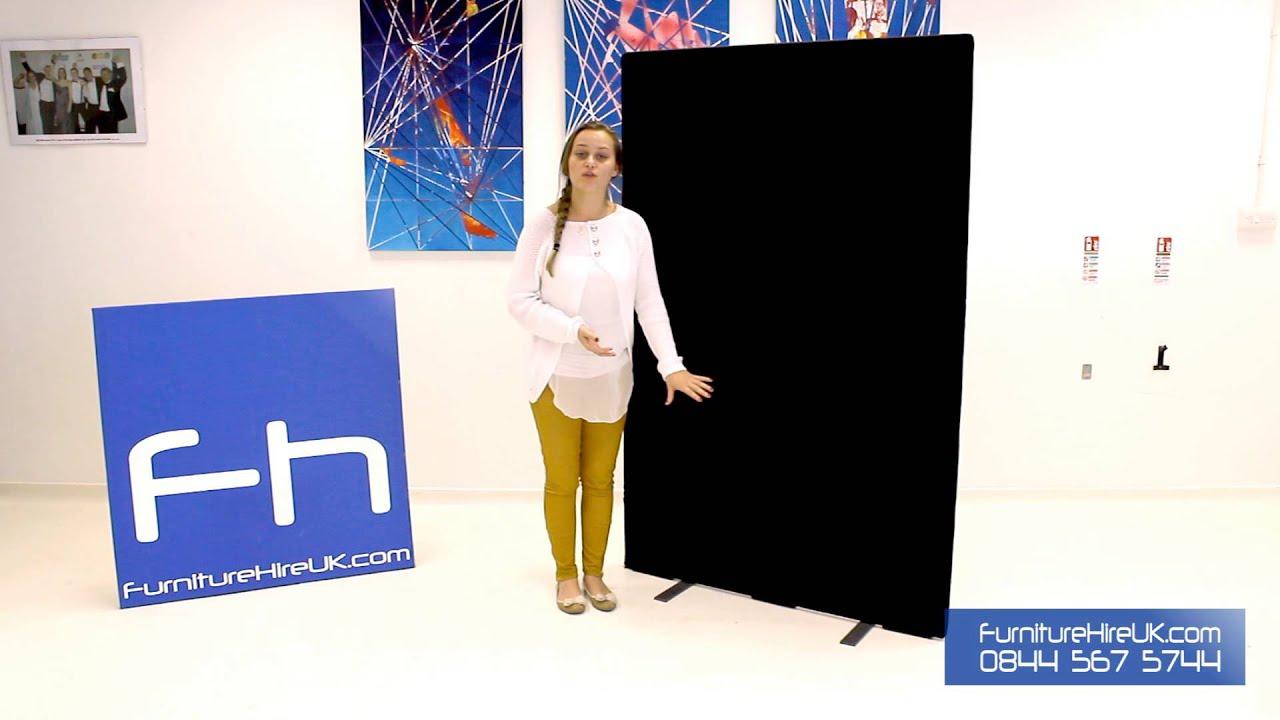 Black Freestanding Screen Demo - Furniture Hire UK