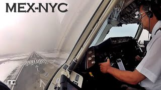 AeroMexico Boeing 767 Mexico City to New York JFK Cockpit Captain Side - Cabina de Pilotos