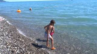 Медузы. Дети - ловят, девушки - боятся. Лазаревское, пляж после шторма 15 июля