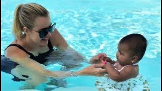 [EXCLUSIVE] Khloe Kardashian And Tristan Give Baby True Swimming Lessons - VIDEO