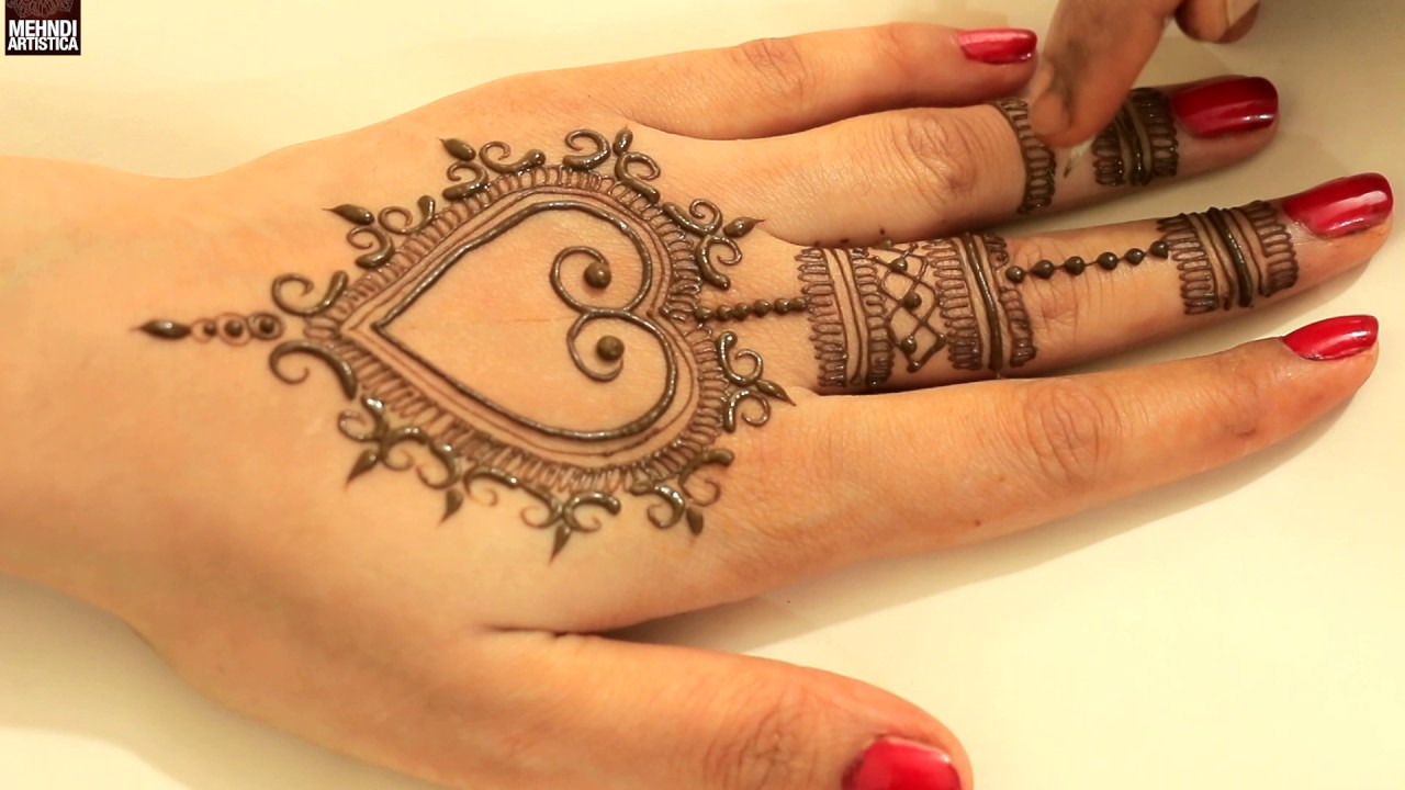 Easy Simple Heart Shape Henna Mehndi Designs For Beginners Stylish