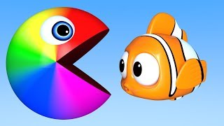 Learn Colors with PACMAN as eat Fish on the Sea and Fish Shape Balls Underwater for KId