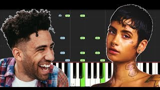 Kyle ft Kehlani - Playinwitme (SLOW EASY PIANO TUTORIAL INSTRUMENTAL)