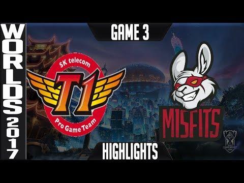 SKT vs MF Highlights Game 3 - Quarterfinal World Championship 2017 SK telecom T1 vs Misfits Worlds