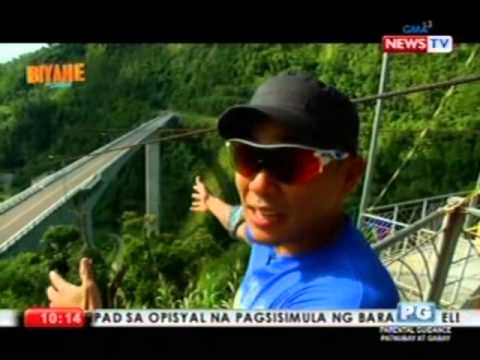 Drew Arellano takes a zipline across the Agas-Agas bridge in Southern Leyte (Biyahe ni Drew)
