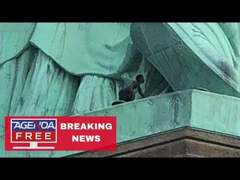 Woman Is Climbing Statue of Liberty - LIVE BREAKING NEWS COVERAGE