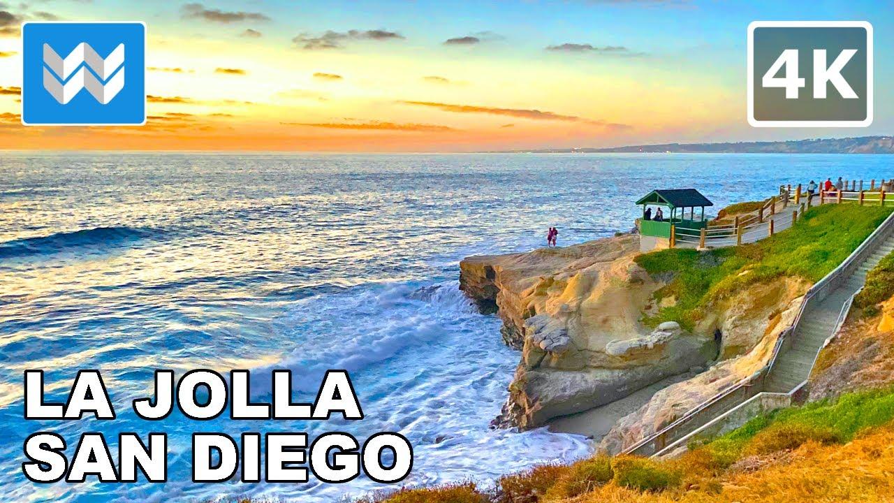 [4K] Sunset at La Jolla San Diego, California - 2021 Walking Tour & Travel Guide 🎧 Binaural Sound
