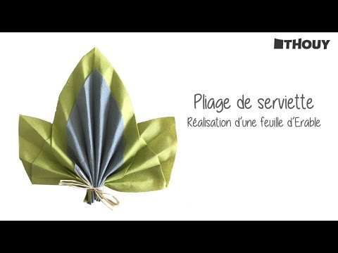 Pliage De Serviette Feuille D Erable En 2 Couleurs Youtube
