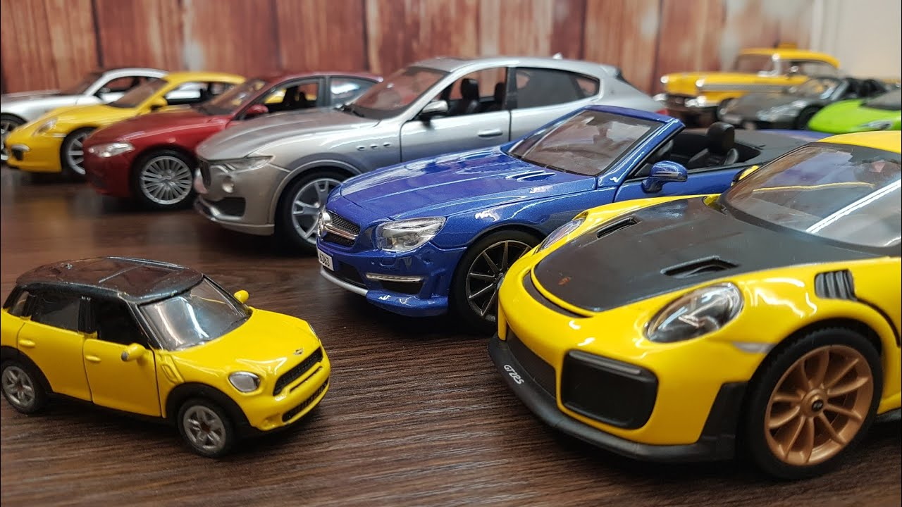 Show cars, drive cars on the table 4k video about cars