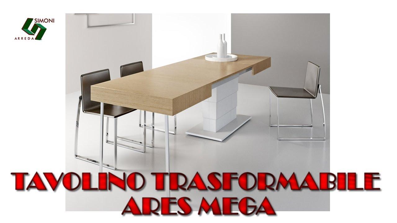 Tavolino trasformabile in tavolo ares mega 320 cm youtube for Simoni arreda milano