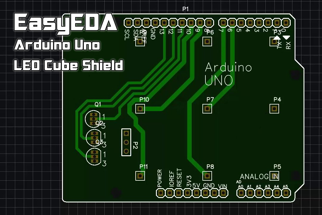 EasyEDA | Arduino Uno 3x3x3 LED Cube Shield PCB Layout [Download in ...