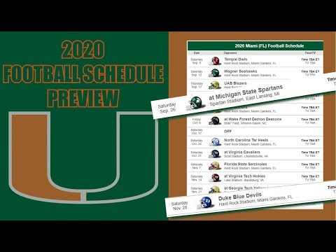 MIAMI HURRICANES 2020 FOOTBALL SCHEDULE PREVIEW