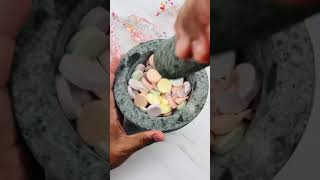 Crushing Smarties Tablets Candy to Make Satisfying ASMR Video