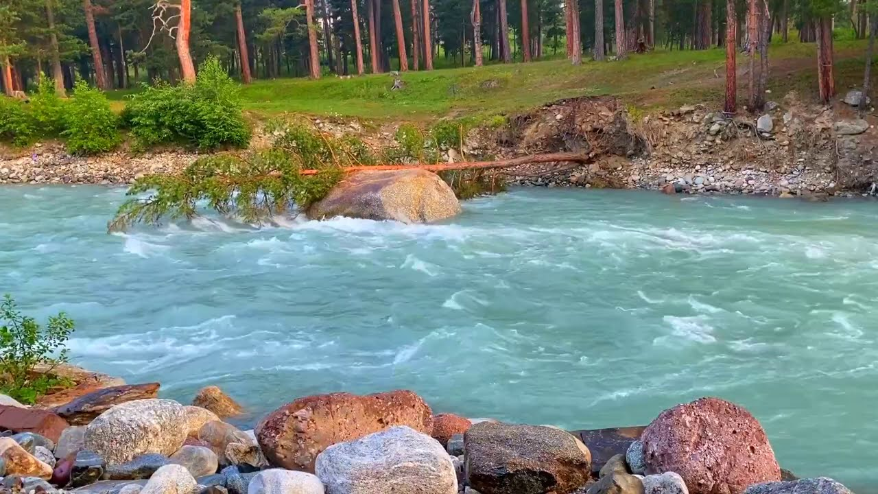 Calming Beautiful Mountain River. Relaxing Nature Sounds. (10 hours). White noise for sleep.