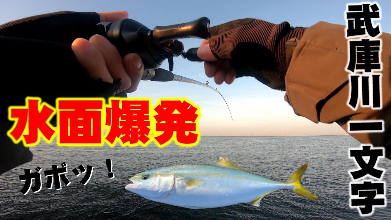 【水面爆発】武庫川一文字でショアジギング!メタルジグが青物に襲われる瞬間!
