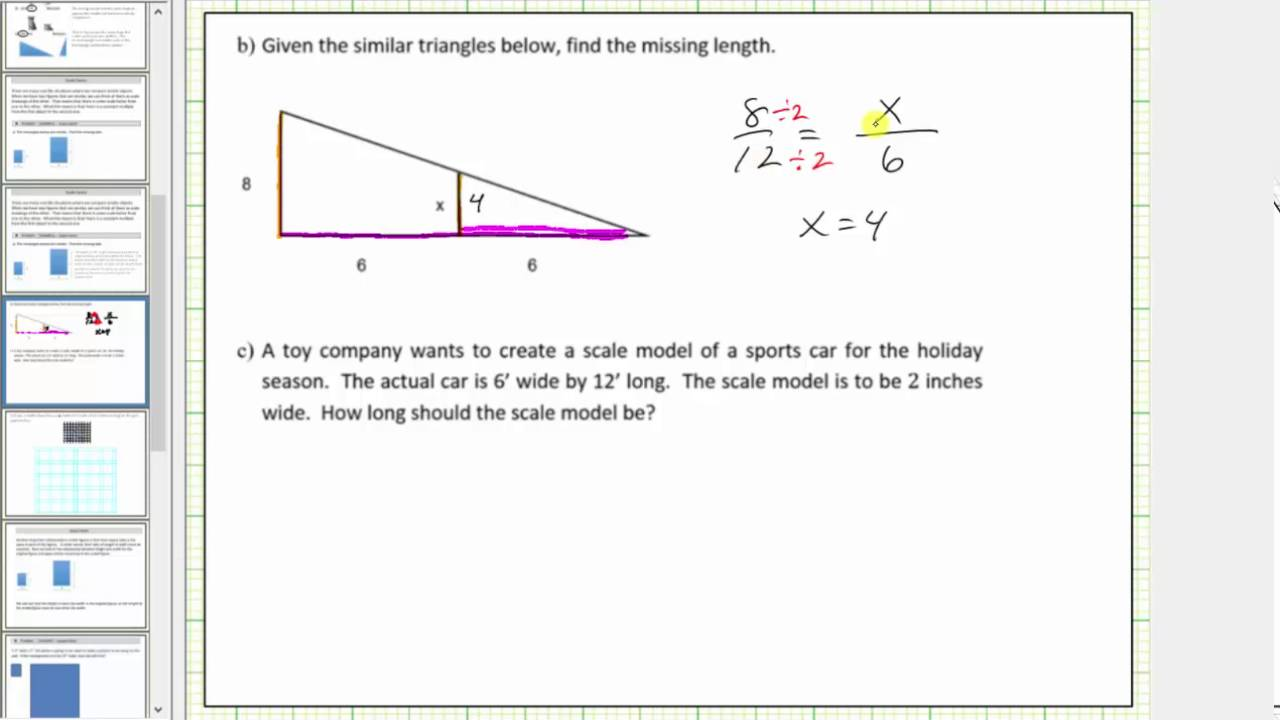 Scale Factor Similar Triangles And Proportions Youtube