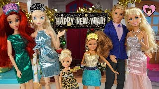 Barbie Family New Year's Party with Fireworks! - with Frozen Elsa & Disney Princess Ariel