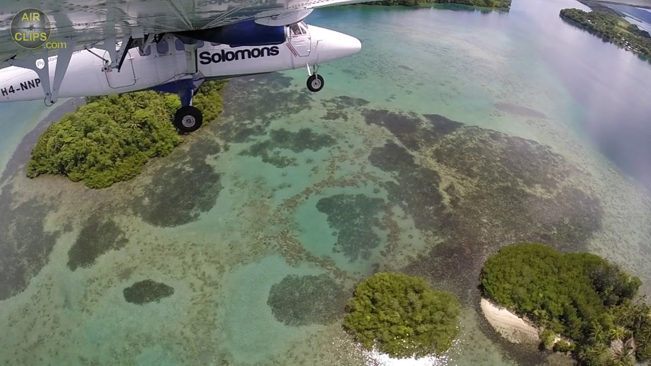 MUST SEE!!! Amazing Solomon Airlines Dash 6 Twin Otter Landing: Ramata Paradise Island [AirClips]