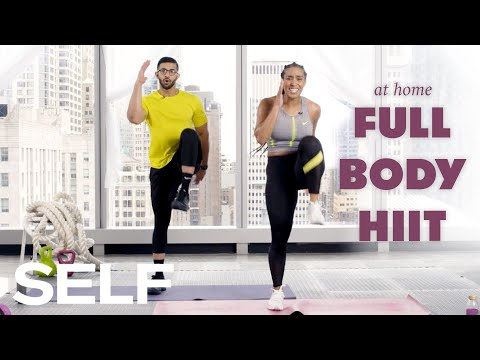 30-Minute HIIT Cardio Workout with Warm Up - No Equipment at Home   SELF