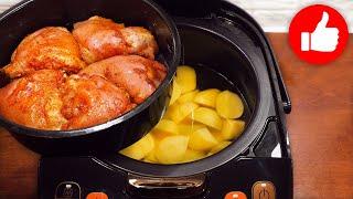 Минутный обед или ужин Все смешал и два блюда в мультиварку Картошка с курицей в мультиварке