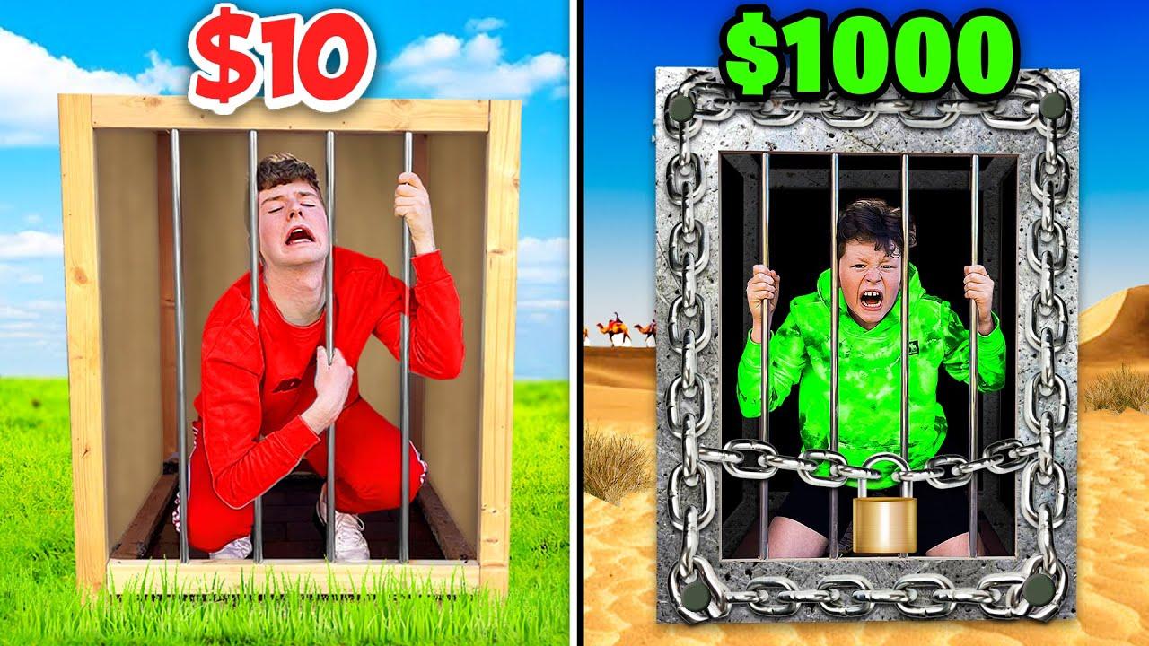 $10 vs $1000 Prison Boxes! *FIRST TO ESCAPE WINS*