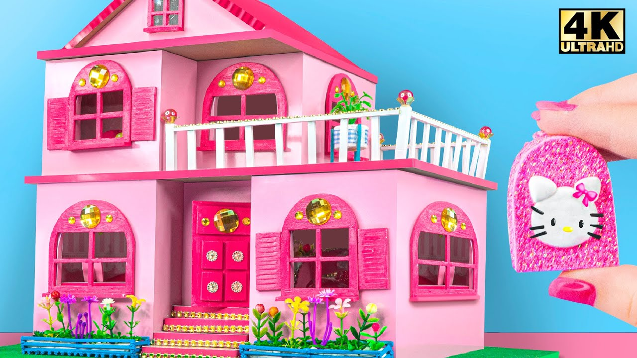 DIY Miniature Cardboard House ❤️ Build Amazing Two Floor Carton House Have Four Pink Room For Kitten